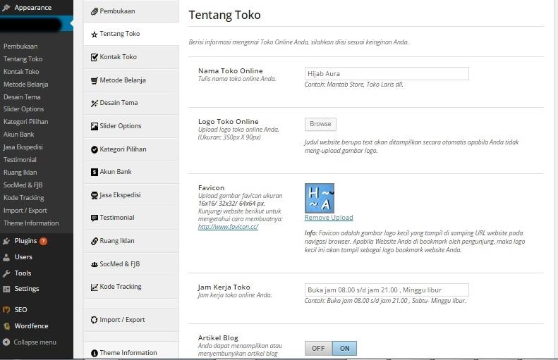 Dashboard Jasa Pembuatan Toko Online