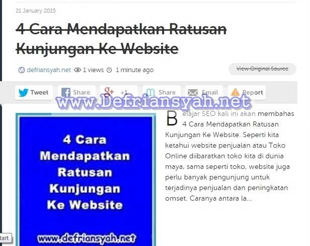 Cara Submit Artikel ke Social Bookmark