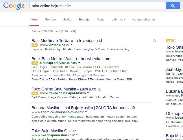 Pengertian Keyword, Halaman pencarian Google