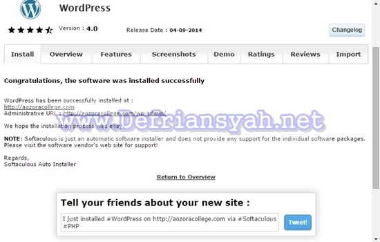 Cara Instal WordPress dengan Softaculous