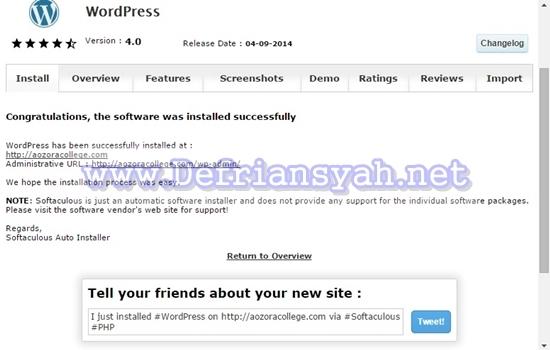 Cara Instal WordPress dengan Softaculous