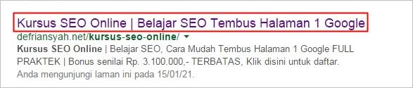 Belajar SEO On Page | Meta Title di halaman mesin pencari