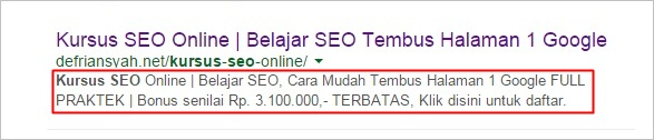 Tutorial SEO On Page Meta Description