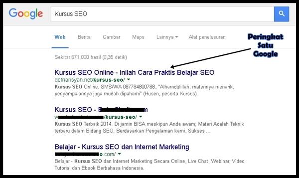 Peringkat 1 Google keyword Kursus SEO