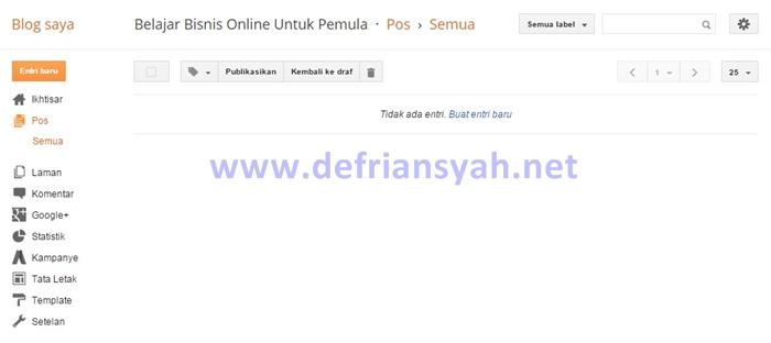 Halaman Dashboard Blogspot