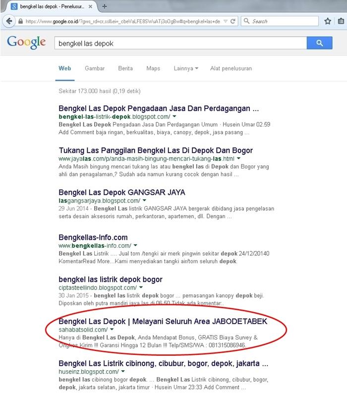 Peringkat Google Bengkel Las