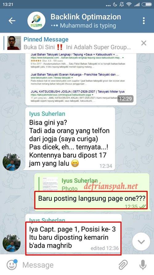 Testimoni Sekolah SEO Online Defriansyah