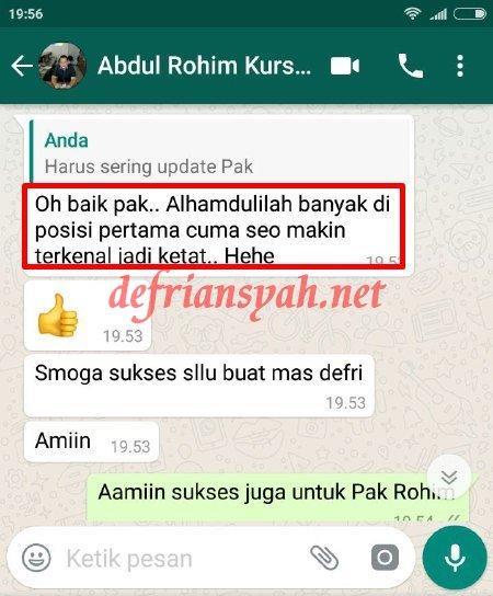 Testimoni Private SEO Online Defriansyah