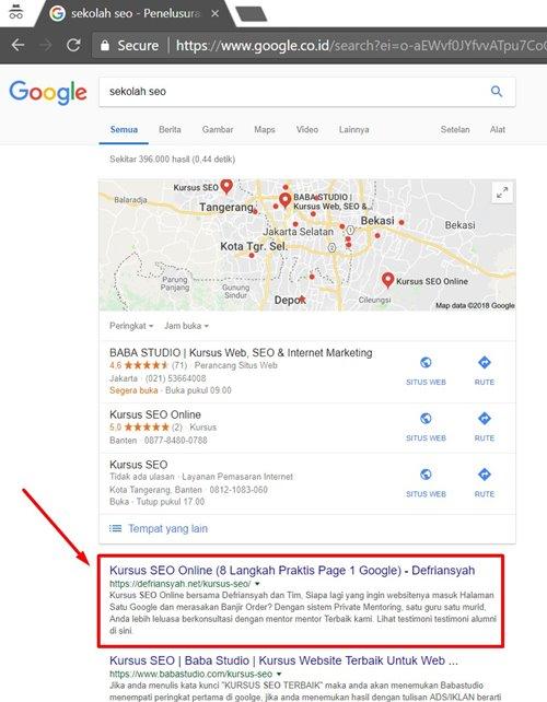 Peringkat 1 di Google