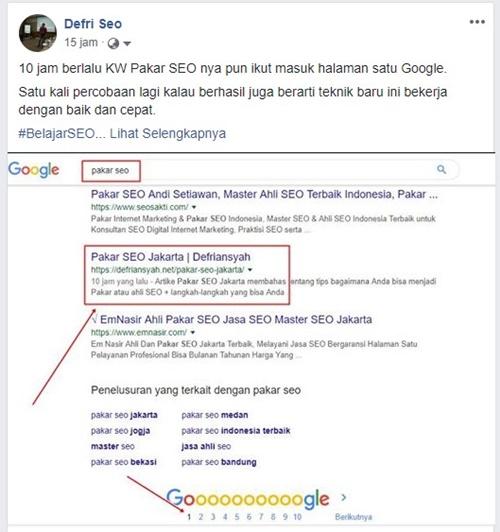 Pakar SEO Halaman Satu Google dalam 10 jam