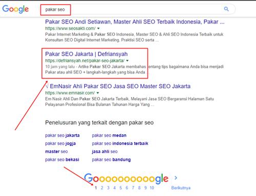 Contoh pengerjaan Jasa SEO Jakarta