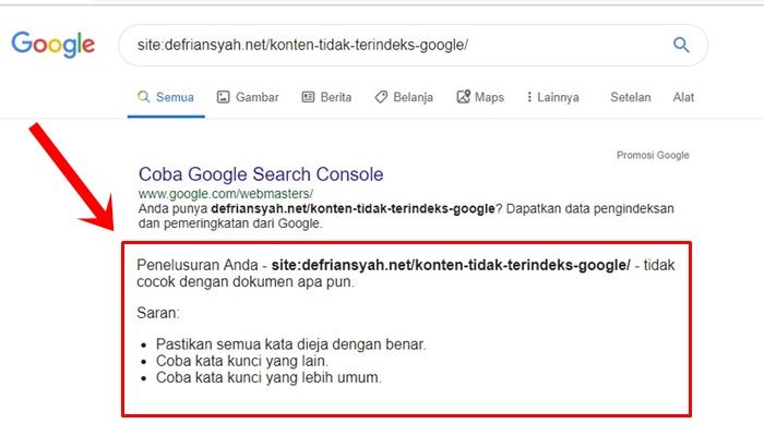 Konten Tidak Terindeks Google