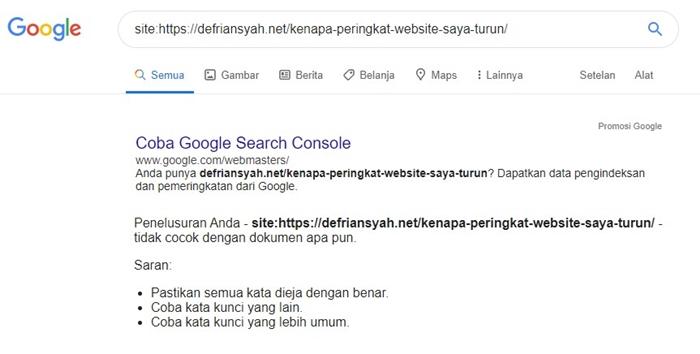 Cek Indeks Google