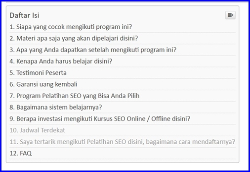 Contoh Table Of Content