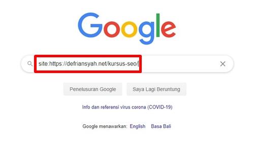 Cara cek indeks Google