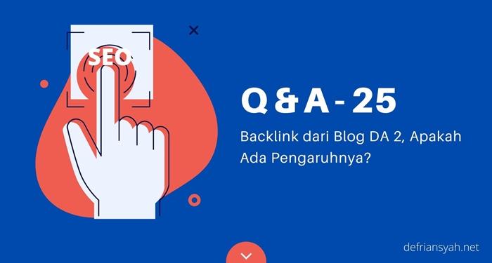 Backlink dari Blog DA 2